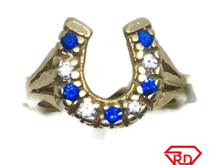Horse shoe white & blue CZ ring 14k yellow gold S5
