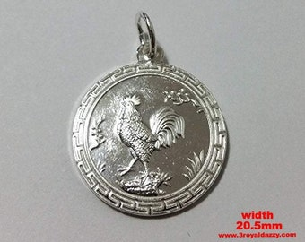 Chinese zodiac horoscope 999 fine silver round year of rooster pendant charm