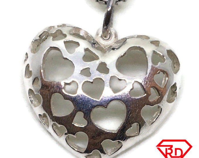 Artistic Heart tiny charm pendant 925 Solid Silver