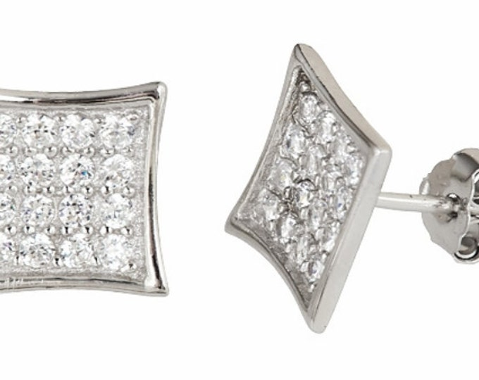 14k White gold layer Medium size Square CZ .925 Sterling Silver Micro Pave Earrings