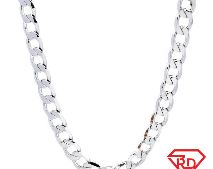 14k White gold Layer on Solid 925 Sterling Silver Curb Chain- 5 mm - 22 ""