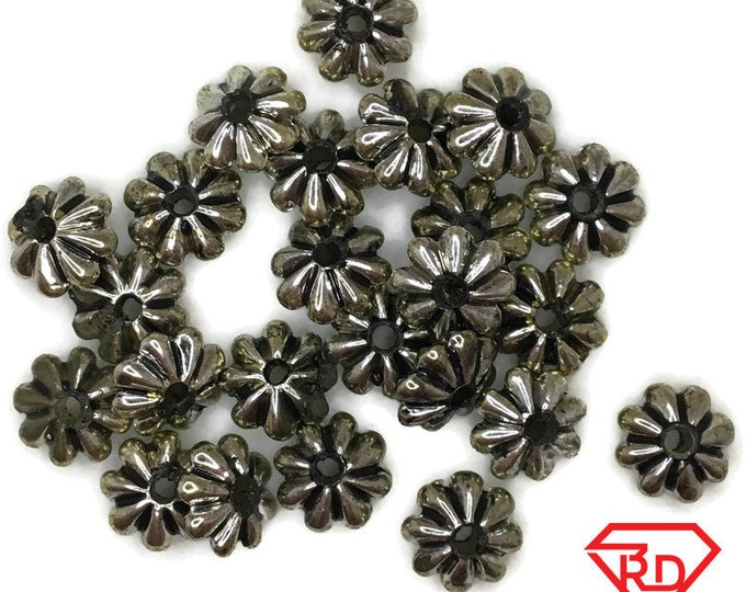Flower cap bead jewelry making Brass Rhodium plated basic metal 25 pcs