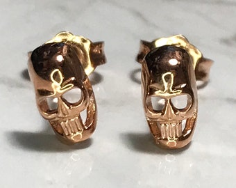 NEW 14K Gold Layered on Sterling Silver Skull Stud Earrings