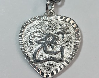 """New 925 Silver Chinese Character Writing """"Happiness"""" &  Ram / Goat Heart Charm Pendant Reversible Design"""
