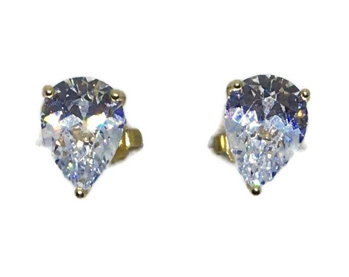 3 prong teardrop white CZ yellow gold on Silver studs Earrings