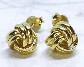 New 14k yellow gold on sterling silver yarn design stud earrings