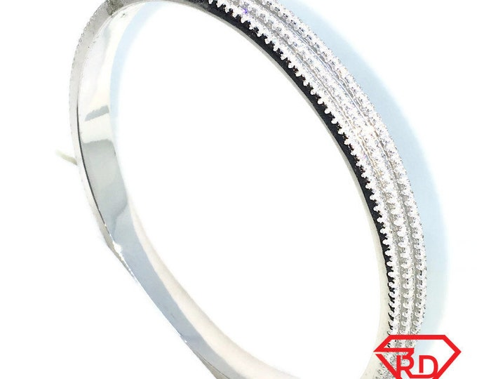 New White Gold Layered on 925 Solid Sterling Silver Wedding Bangle Bracelets triple layer round white CZ extra large slip on