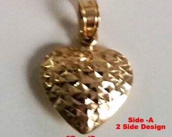 14k gold Layer on Sterling Silver Reversible Diamond cut & Polish Heart Pendant Charm