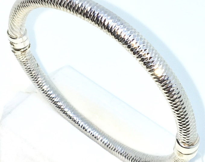 New White Gold Layered on 925 Solid Sterling Silver Bangle Bracelets Thick round diamond cut with magnetic clasp