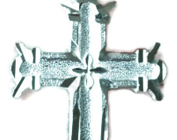 New modern sculpted design solid 925 anti tarnish sterling silver cross pendant