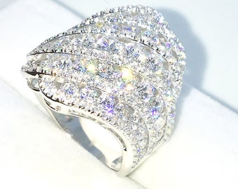 New Handcraft White Gold Plated on Sterling Silver ring band with large artistic design of round white CZ