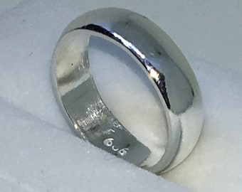 4 . 4mm Size 3 New Handmade Plain Slim . 990 Solid Silver Ring Band
