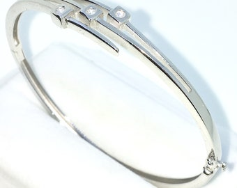 New White Gold Layered on 925 Solid Sterling Silver Oval Bangle Bracelets Three layer white round CZ and Box clasp