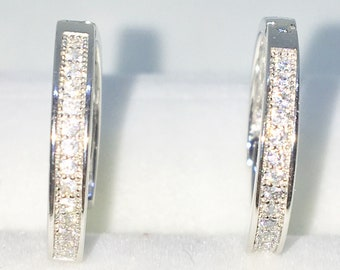 Brand New White Gold on 925 Solid Sterling Silver One sided white round CZ hoop Earrings ( 16 . 1 mm )
