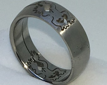 7 . 4mm Size 10 . 75 Brand New White Gold Plated with Frog Pattern on Stainless Steel ring band