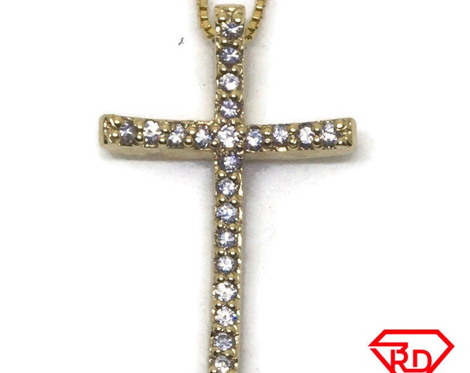 Simple Cross with CZ charm pendant 14k Yellow gold
