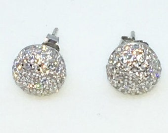14k White Gold Layered Ball shaped CZ on 925 Solid Sterling Silver Stud Earrings ( 8. 5 mm )