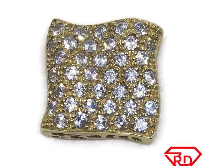 Curvy Square white CZ 14k yellow gold pendant