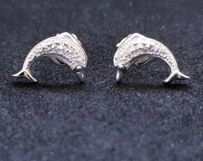 New 14K White Gold on 925 Sterling Silver Cute Dolphin Earrings