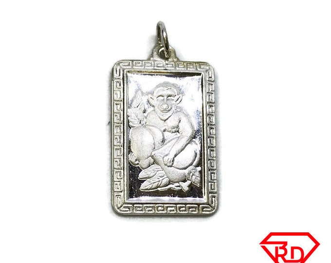 NEW .990 Sterling Silver Year of the Monkey Rectangular Lucky Pendant