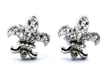 14k white gold layered on 925 Sterling Silver Anchor Earrings