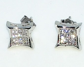 14k White Gold Layered Square with dented edges shaped CZ on 925 Solid Sterling Silver Stud Earrings ( 7 . 6 mm )