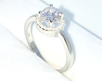 New Handcraft White Gold Plated on Sterling Silver engagement ring band with 4 prong white round CZ and halo round CZ