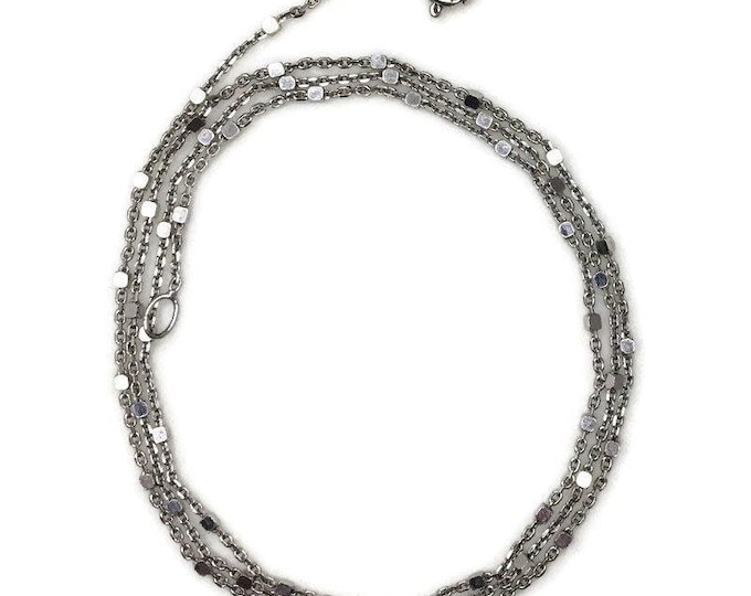 New White Gold on 925 Silver Cable chain with Tiny Cubes (0 . 8 mm)