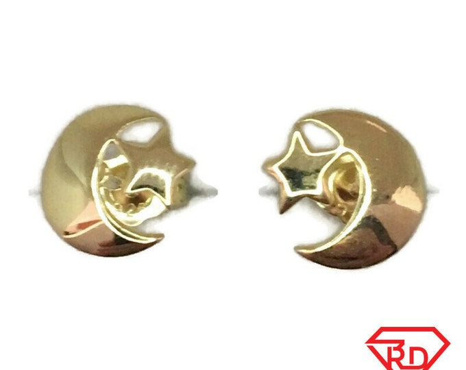 Brand New Yellow gold on 925 Silver Studs Earrings Cute litte Star and Crescent Moon ( 8 . 5 mm )