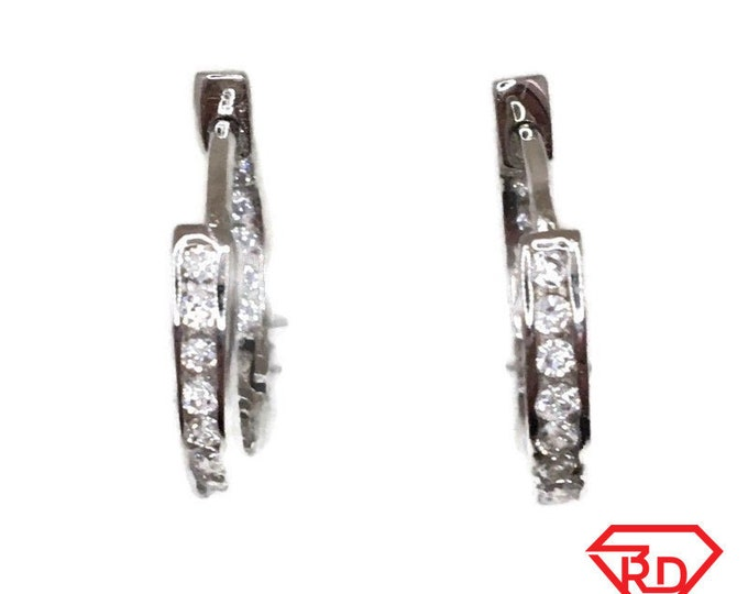 Brand New white gold on 925 Silver Hoop Earrings One sided Small round with white round CZ ( 17 . 7 mm )
