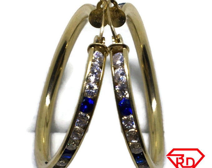 14k Yellow gold large hoop earrings with white and blue Cubic zirconia