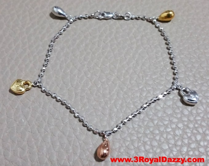 14k Tri-Color Gold Layer on 925 Sterling Silver Dangling Heart Padlock Charms Bracelet