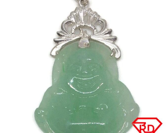 Fat Happy Buddha Budai Jade Pendant 925 silver