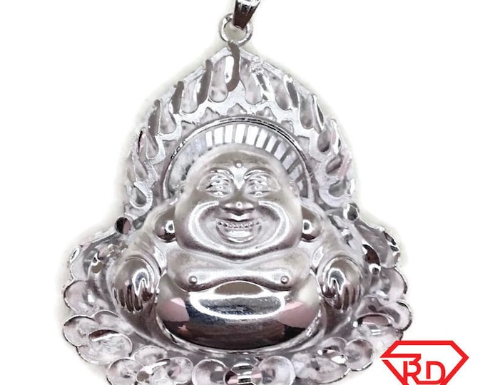 New Handcraft Anti-Tarnish 990 Silver Pendant extra large one sided hollow sitting buddha