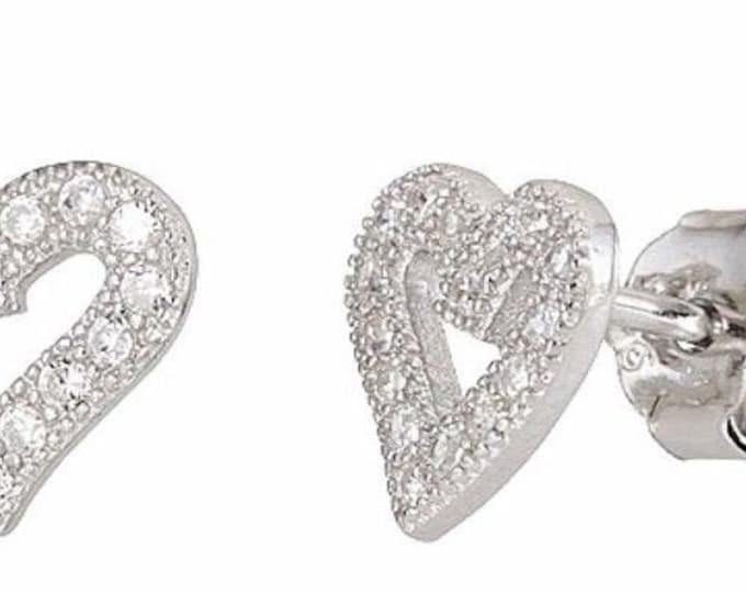 Heart shape stud earrings on cubic zirconia 18k white gold / 925 sterling silver