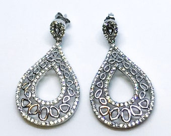 14K white gold on sterling silver raindrop Earrings