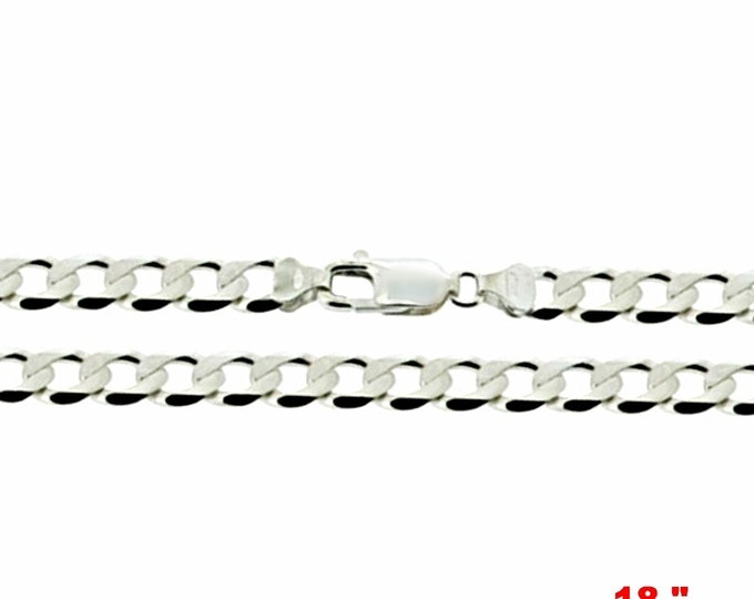 Precious Italian Sterling Silver Anti-Tarnish Curb link Chain 5 MM 18 ""