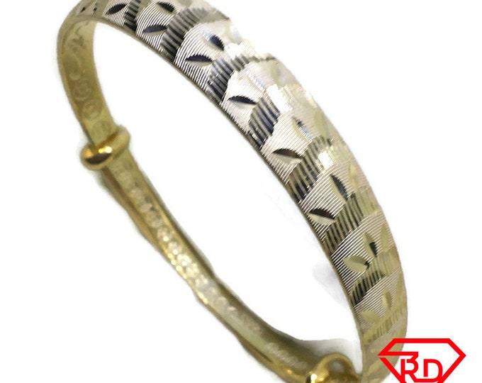 Diamond cut Wave slip in Bangle 999 Yellow Gold Layer
