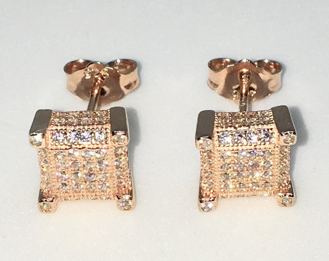 New 14k Pink Gold on 925 Sterling Silver Caged Square White CZ Studs Earrings ( 8 . 0 mm )