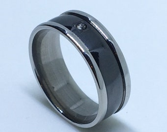 8 . 0 mm Brand New White Gold Plated with Wide Black Center and Single Gem on Stainless Steel ring band