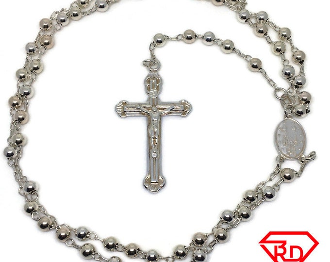 Rosary cross and beads 24 inch 925 silver