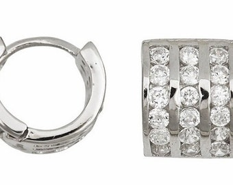 18k w. gold layer Brilliance three row Channel set CZ Hoop Huggie Earring Solid Silver