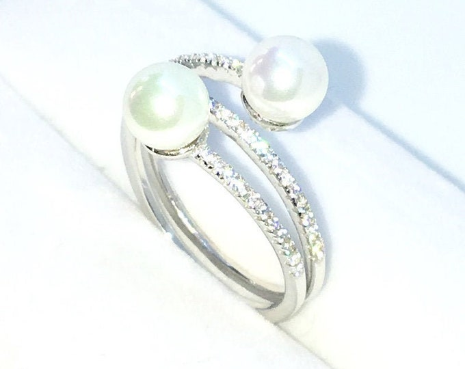 New Handcraft White Gold Plated on Sterling Silver twisted spring ring band