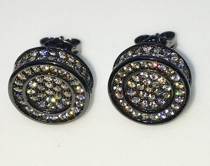 New 14k Black Gold on 925 Sterling Silver Smooth Circle with White CZ Large Studs Earrings ( 12 . 1  mm )