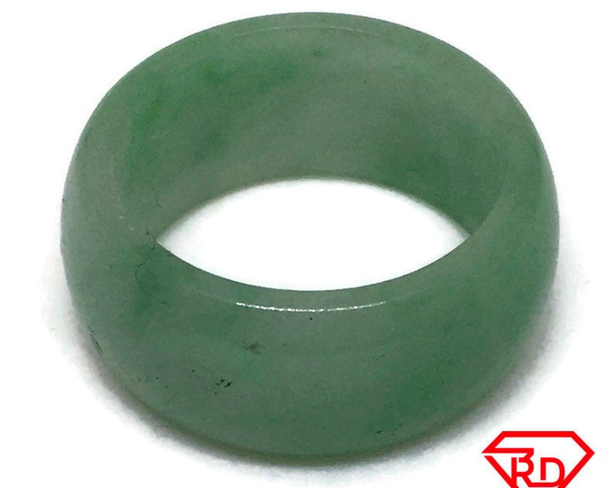 Smooth Plain Round green jade ring Band (Size 9)