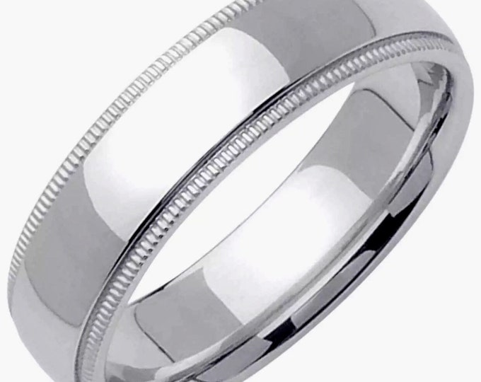 5mm Size 7 - Handcrafted solid 925 Silver high polished Rhodium plain wedding Ring Band