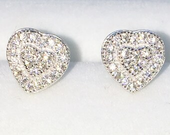 Brand New White Gold on 925 Solid Sterling Silver Heart with white round CZ studs Earrings ( 7 . 7 mm )