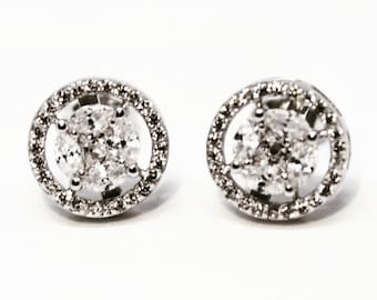 Circle White gold on 925 Sterling Silver Earrings