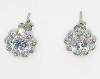 14k White Gold Layered Flower shaped with Large center CZ on 925 Solid Sterling Silver Stud Earrings ( 9 . 3 mm )