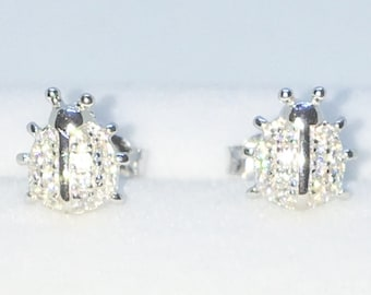 Brand New White Gold on 925 Solid Sterling Silver Lady Bug white round CZ studs Earrings ( 7 . 5  mm )